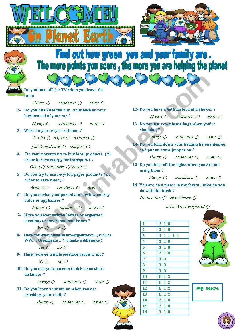 HOW GREEN ARE YOU -QUIZ worksheet