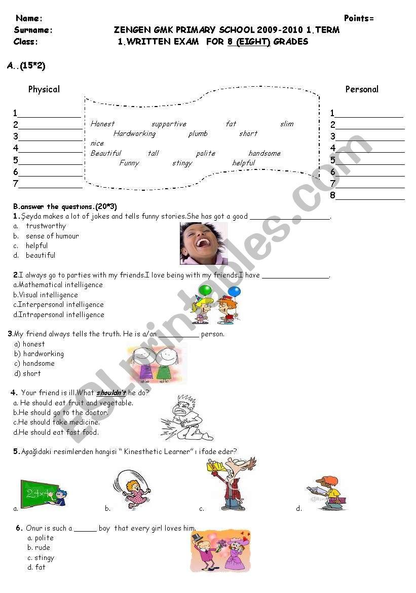 8th Grade Writing Exam Esl Worksheet By Dilekche