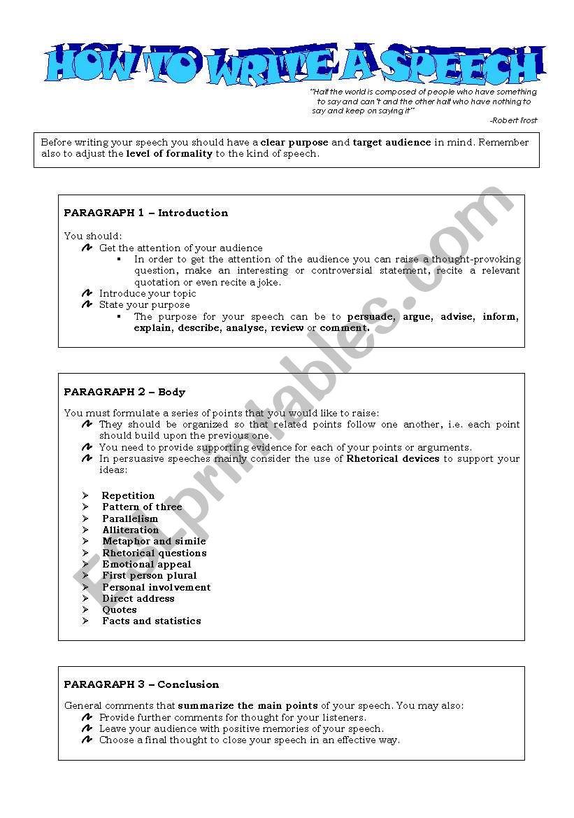 How to write a speech - ESL worksheet by mariaana