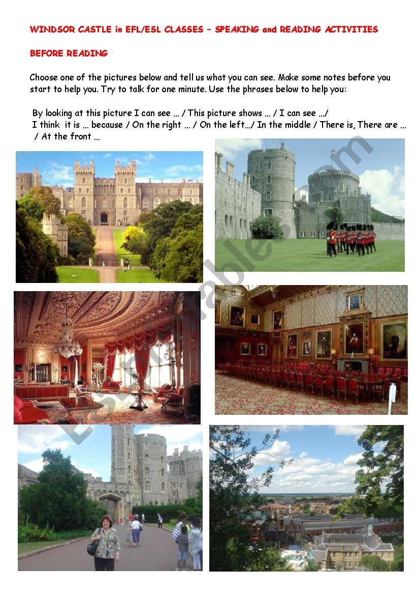 WINDSOR CASTLE - SPEAKING AND READING ACTIVITIES -