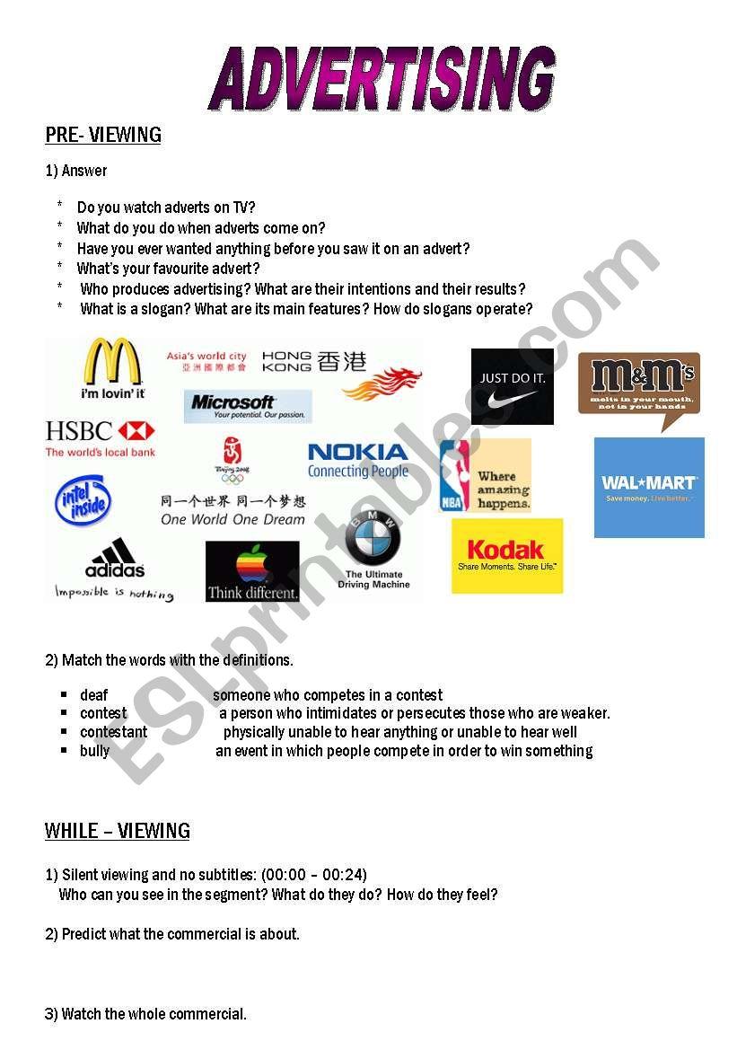 Advertising Esl Worksheet By Natychillemi Yahoo Com Ar
