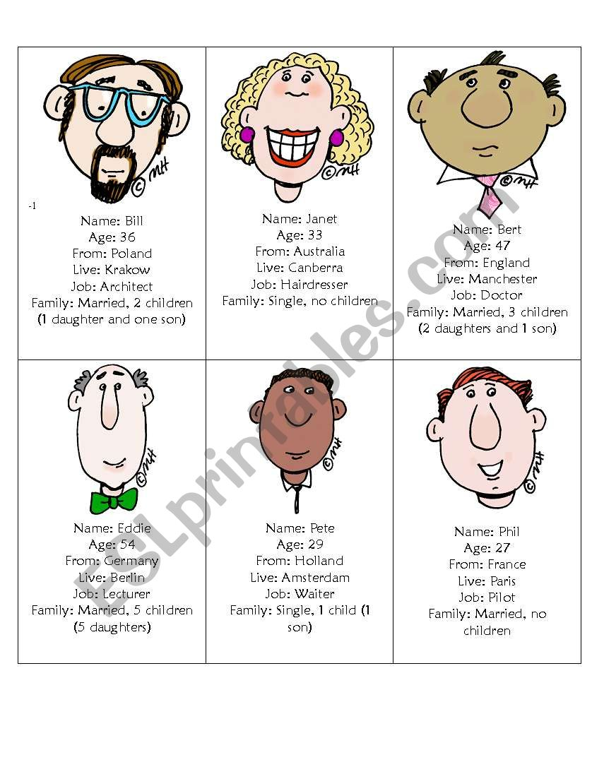 id cards for speaking practice with personal information