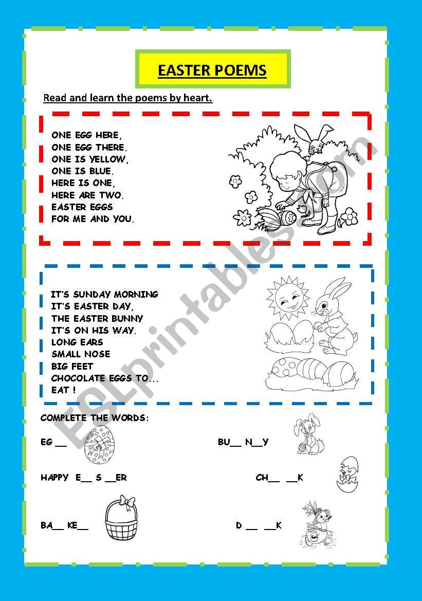 EASTER POEMS AND ACTIVITY worksheet