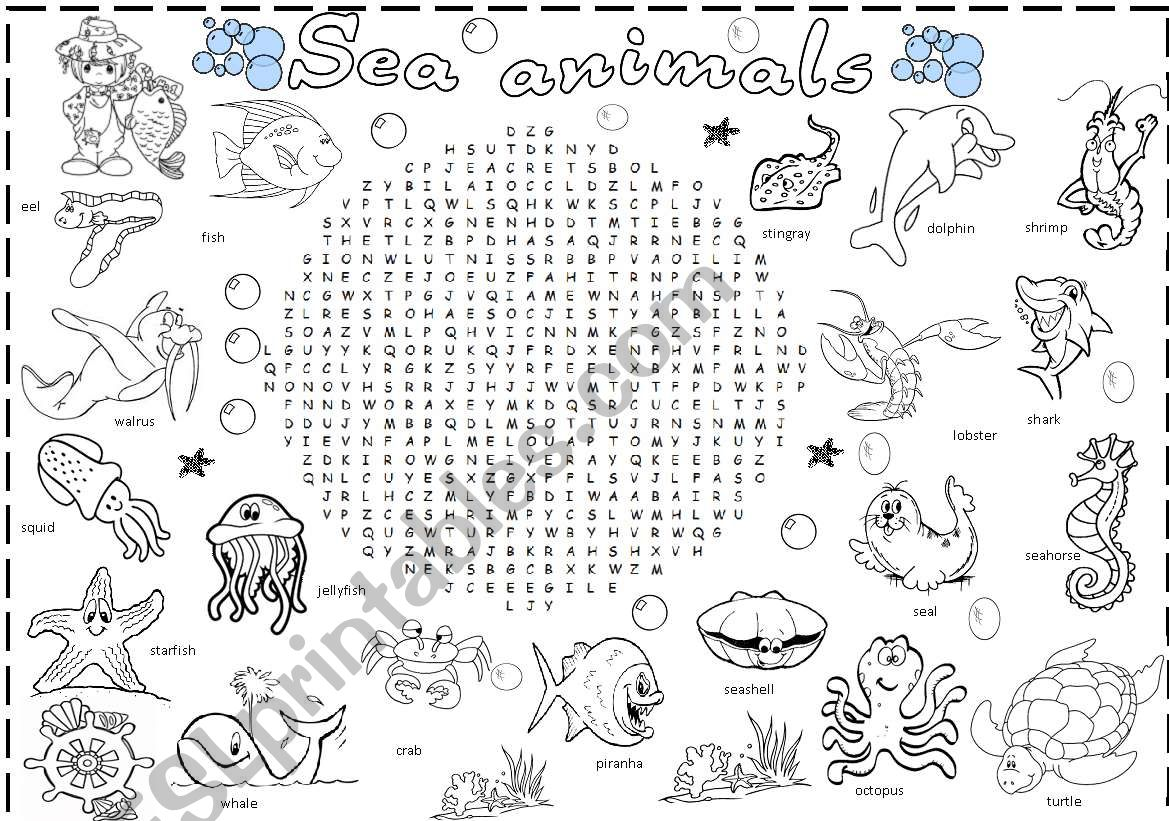 sea animals wordsearch worksheet