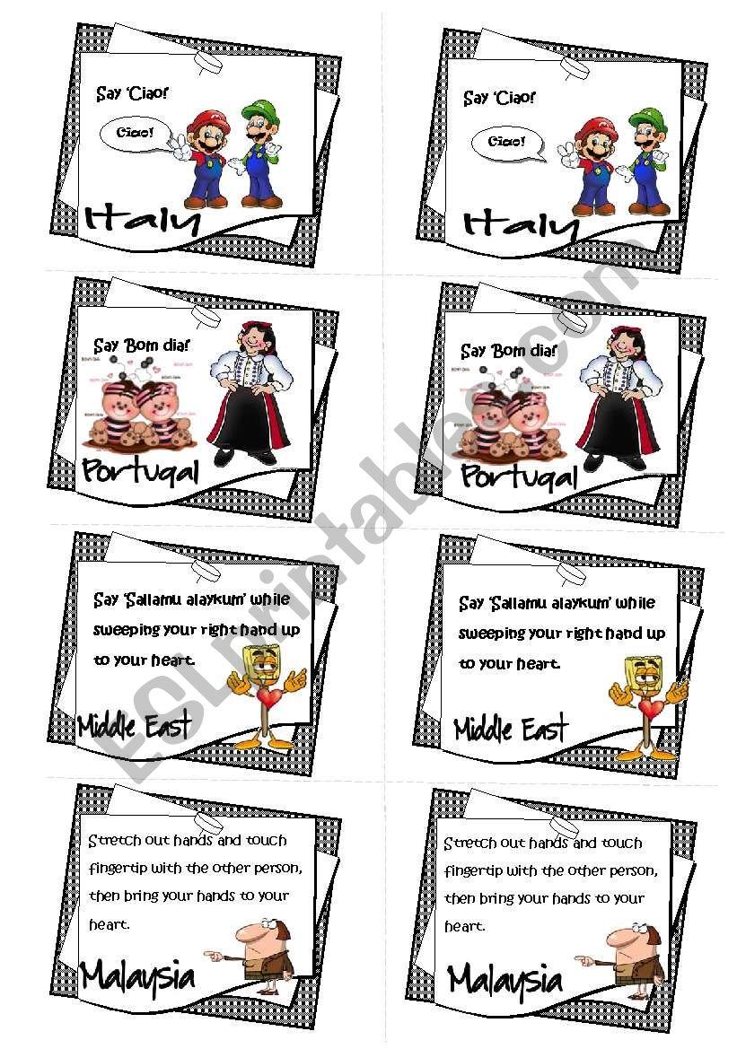 Greetings around the world 22 game esl worksheet by gabitza greetings around the world 22 game m4hsunfo