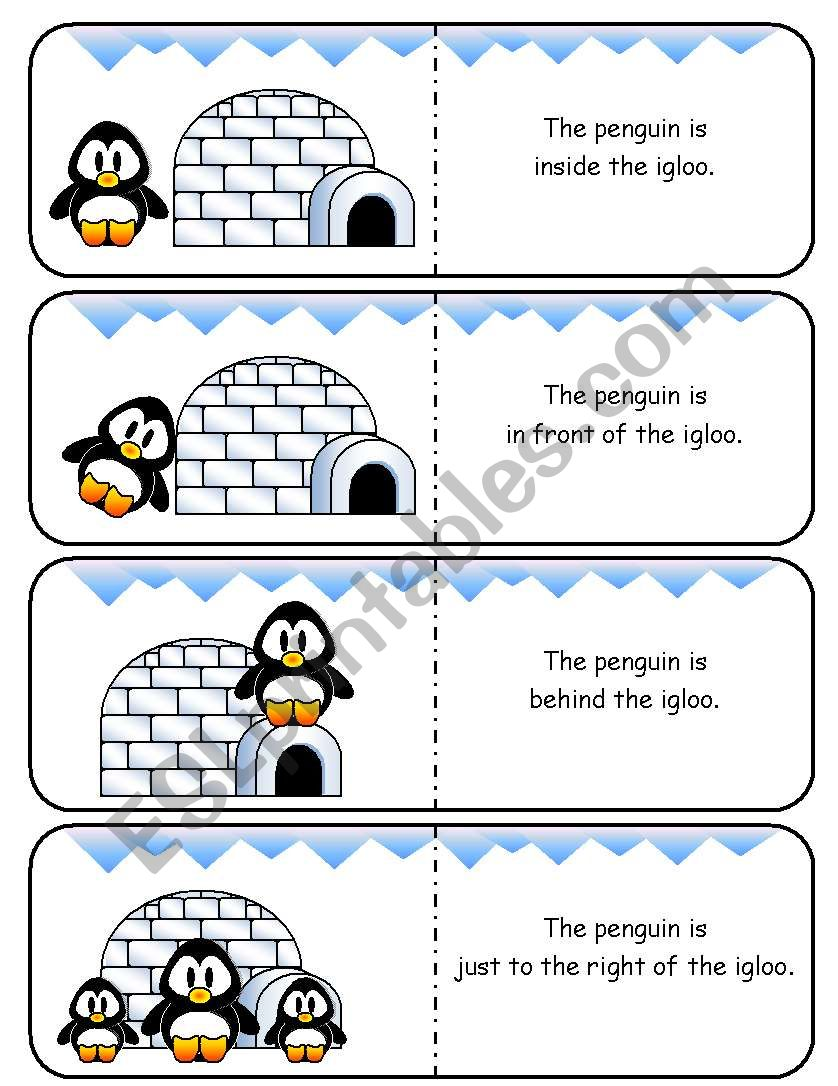 Where is the Penguin Preposition Dominoes and Memory Cards Part 2 of 2 (With Poster and Poem)