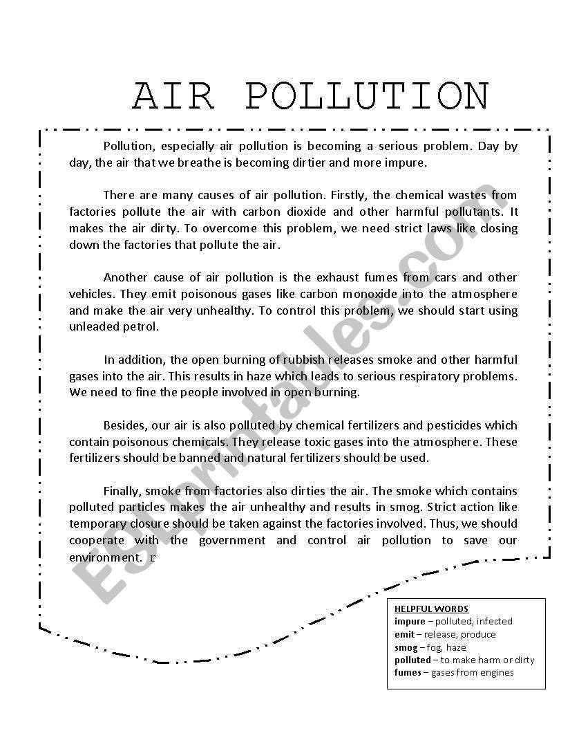 air pollution esl worksheet by fairyha. Black Bedroom Furniture Sets. Home Design Ideas