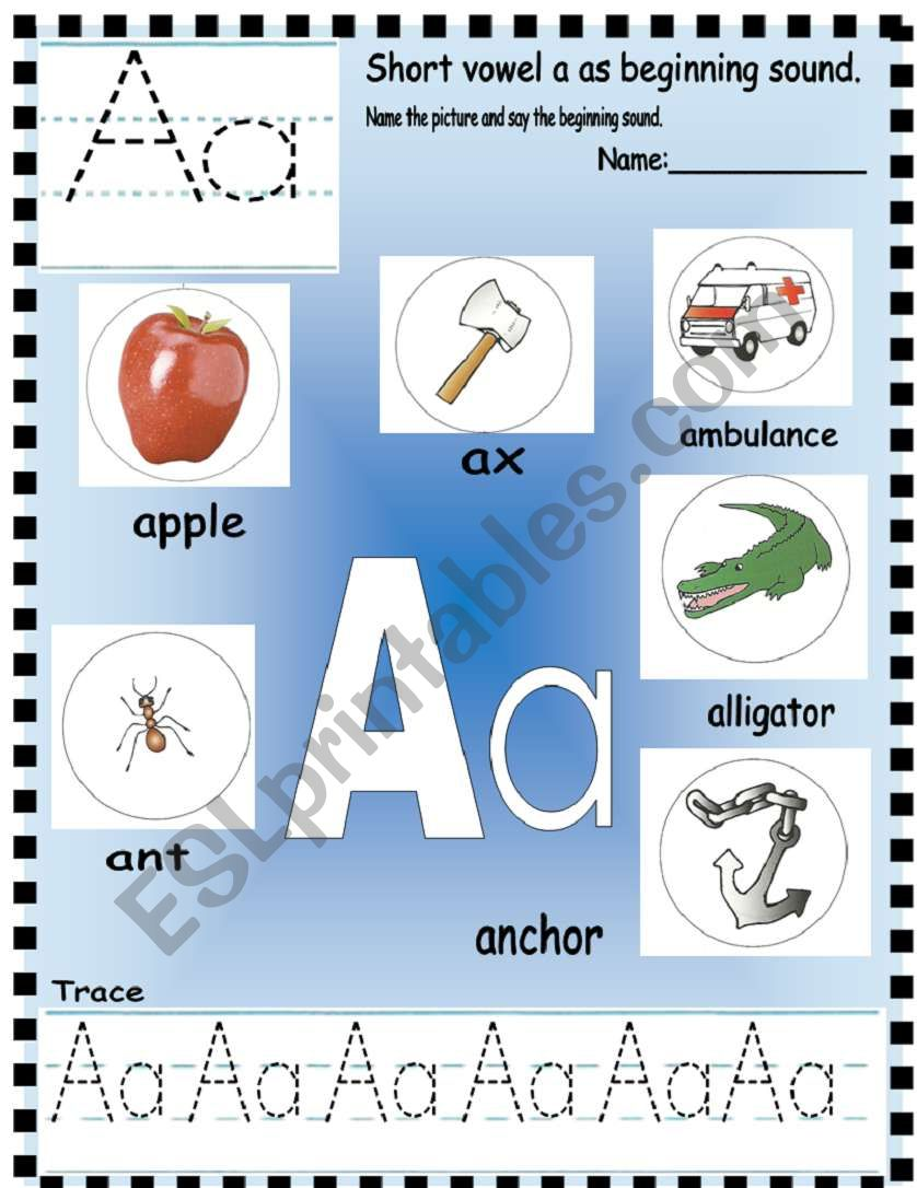 Phonics Letter Aa Esl Worksheet By Annyj