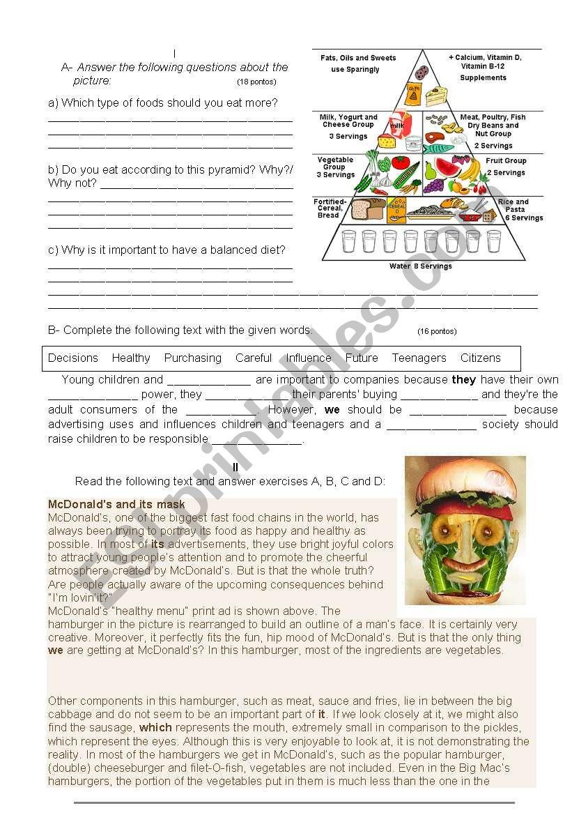 Consumerism worksheet