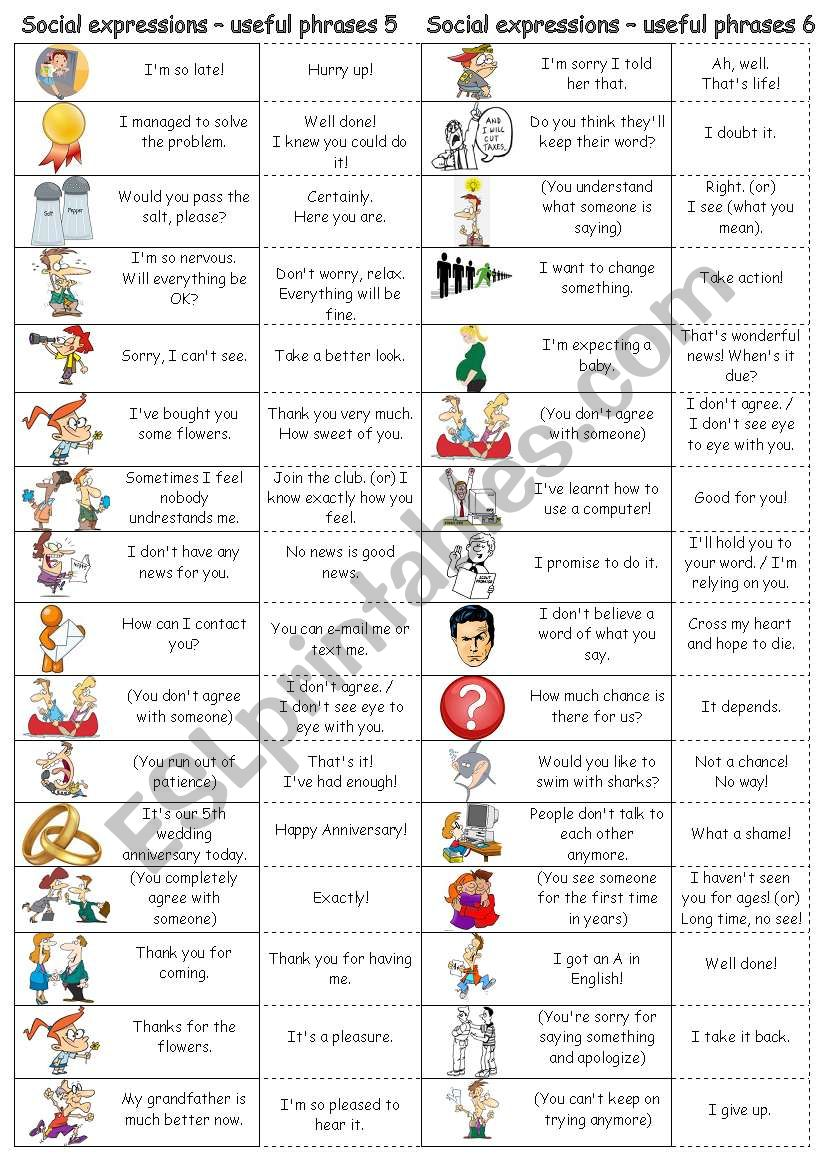 Social expressions - useful phrases 5 & 6