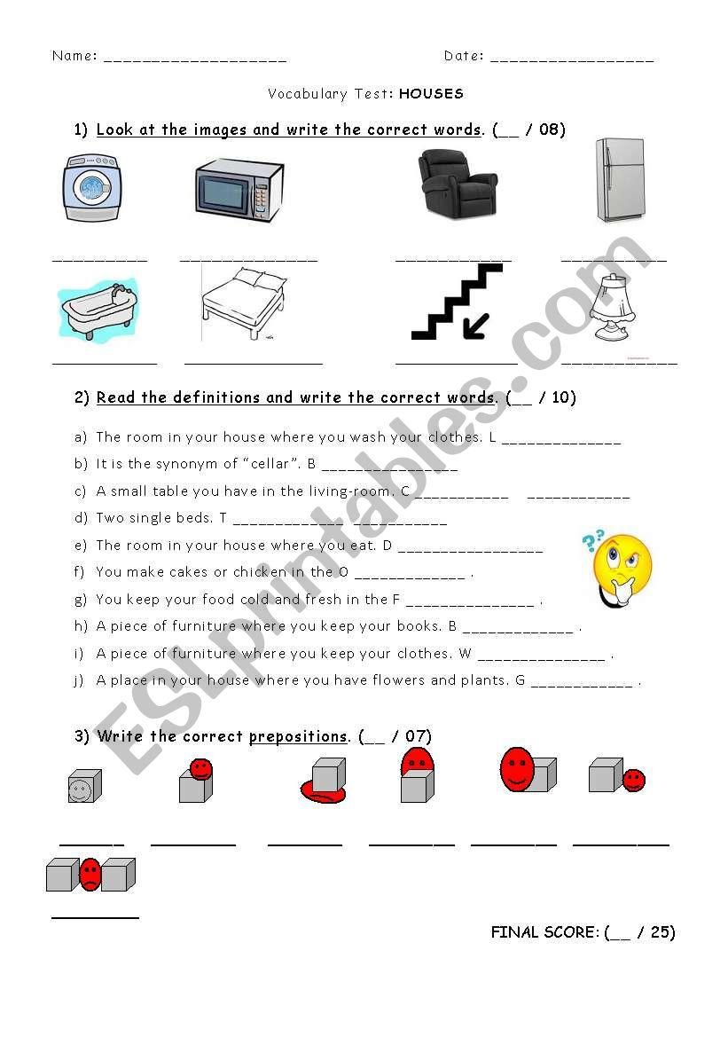 TEST on HOUSES worksheet