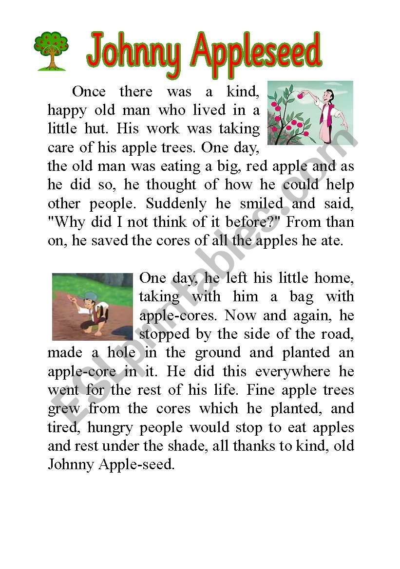 Vibrant image intended for johnny appleseed printable story