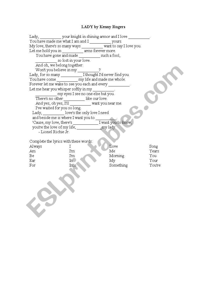 English Worksheets Song Lady By Kenny Rogers