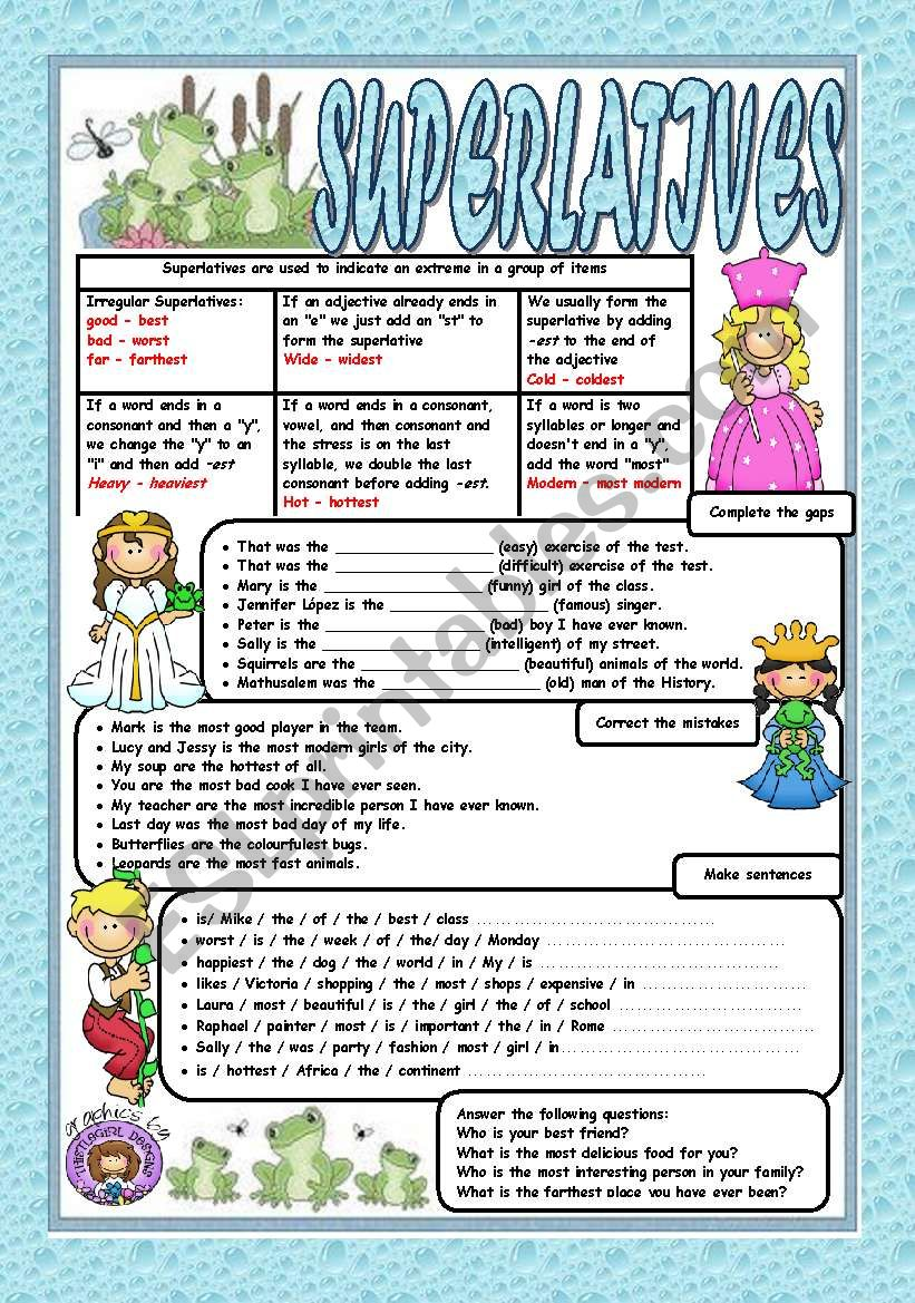 SUPERLATIVES - Grammar and exercises (KEYS + B&W VERSION INCLUDED)