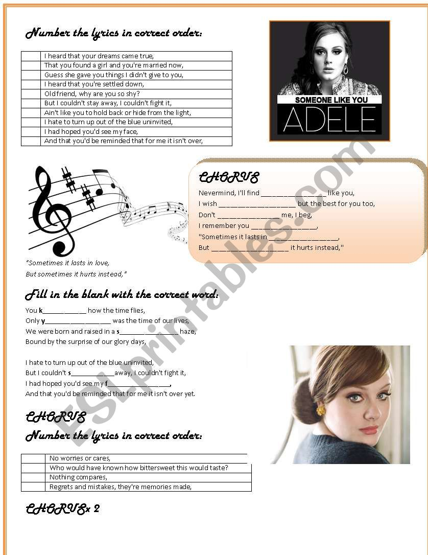 Someone like you by ADELE  worksheet