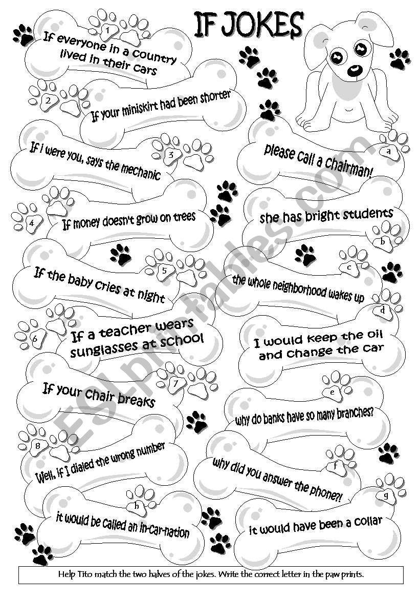If  jokes (WS = cards) 1/2 worksheet