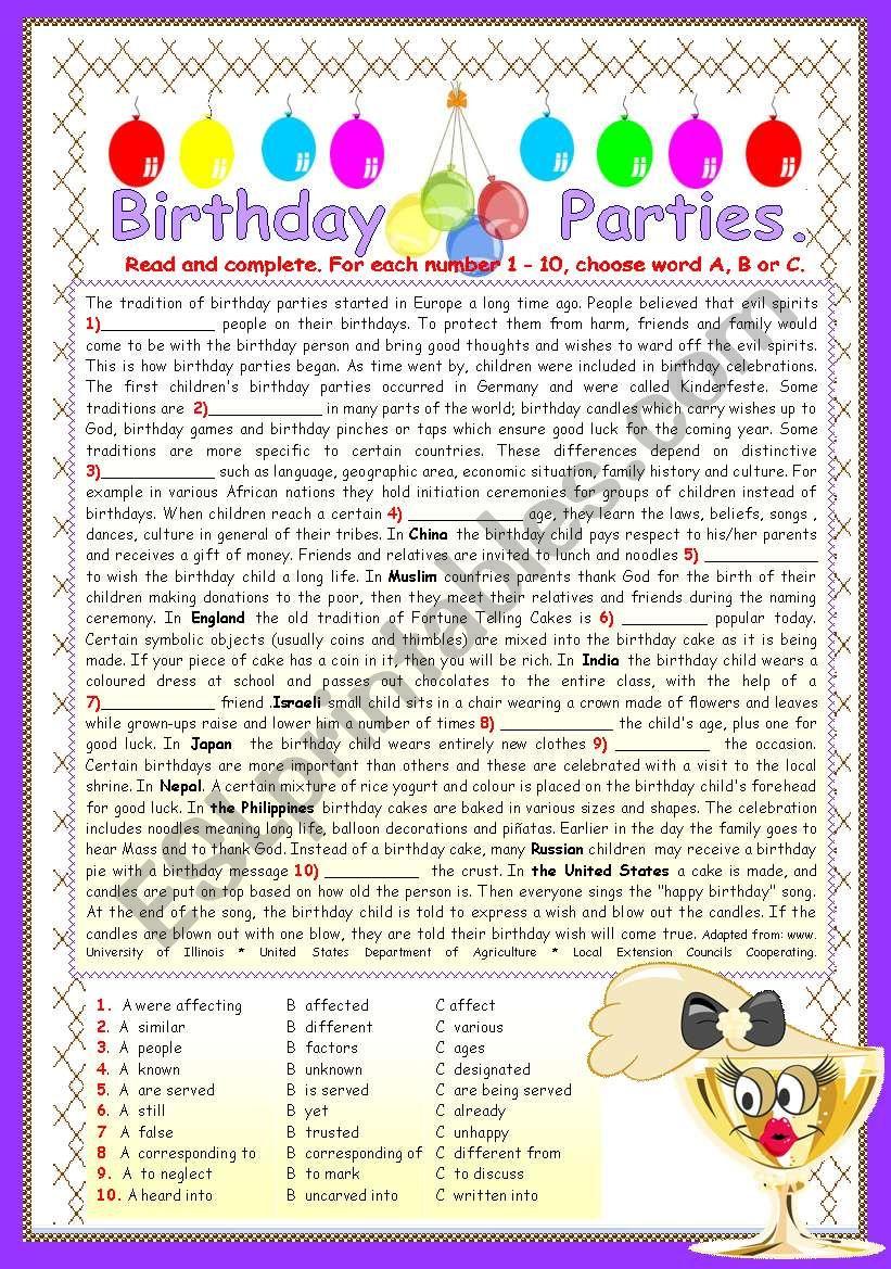 BIRTHDAY PARTIES. worksheet