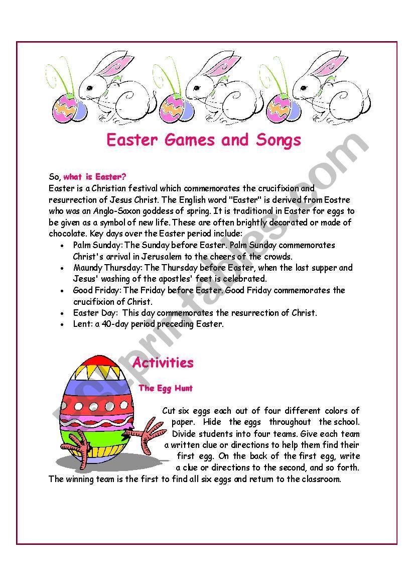 Easter Games and Songs worksheet