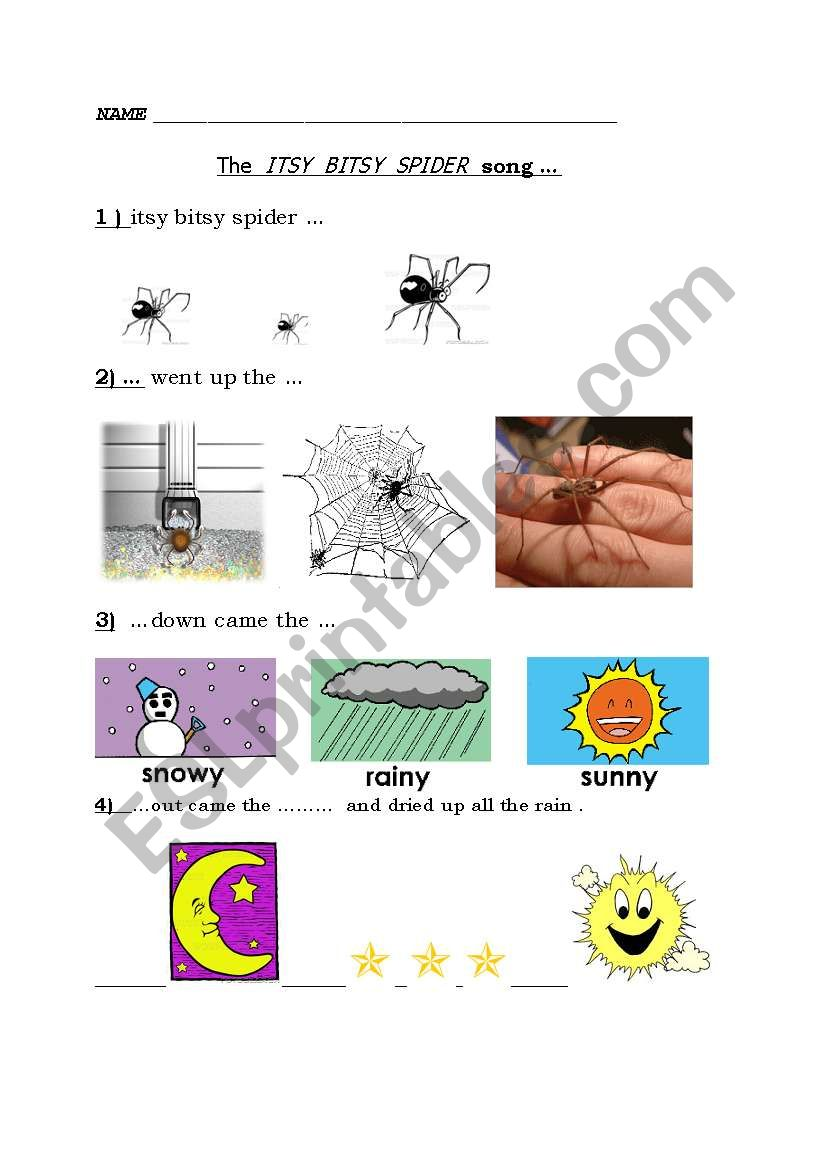 Itsy bitsy spider activity sheet