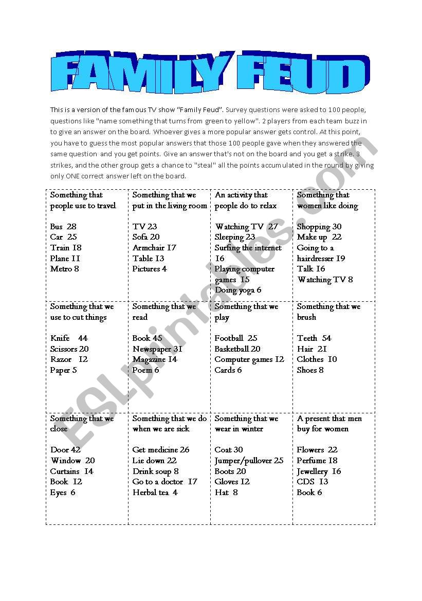 picture regarding Family Feud Printable identify Household Feud Sport - ESL worksheet as a result of erenbenderli