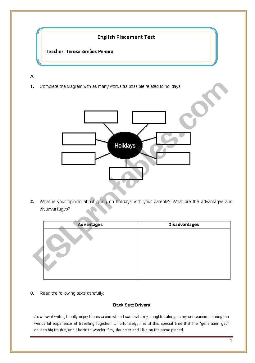 English Placement Test worksheet