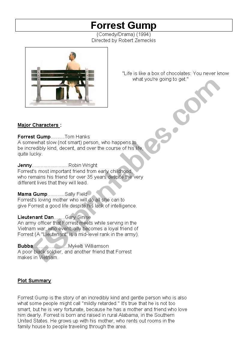 worksheet Forrest Gump Worksheet english worksheets forrest gump worksheet