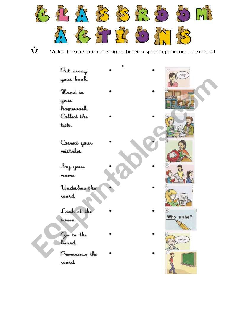 Classroom Actions match  worksheet