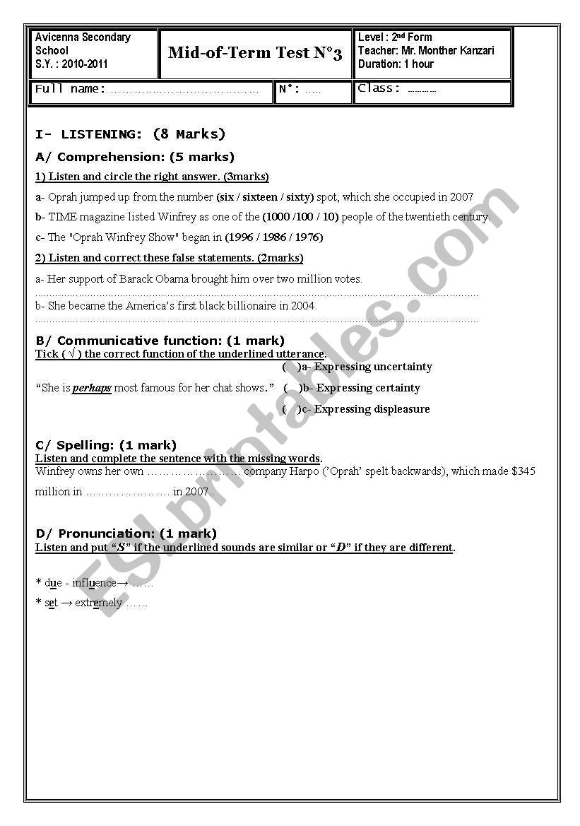 Mid of Term Test N°3 (2nd form secondary Tunisa)