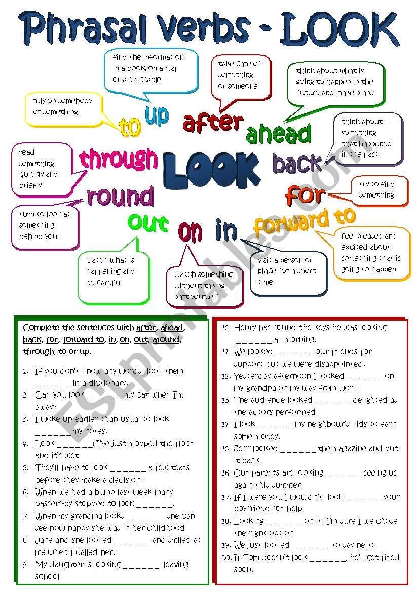 Phrasal verbs - LOOK (B&W + KEY included) - ESL worksheet by ...