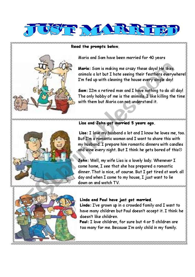 just married-role play worksheet