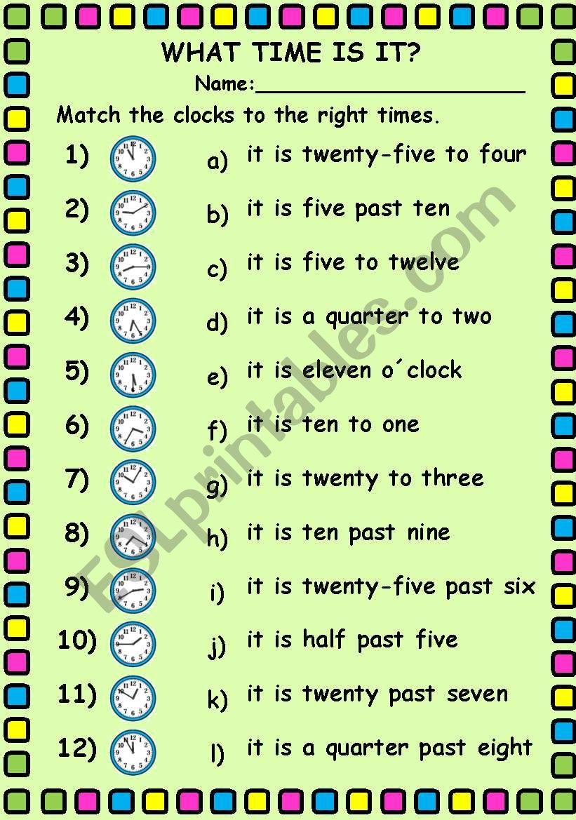 What time is it?. Editable worksheet