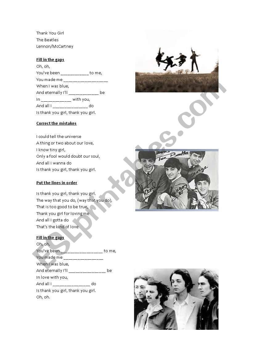 Thank you Girl  (The Beatles) worksheet