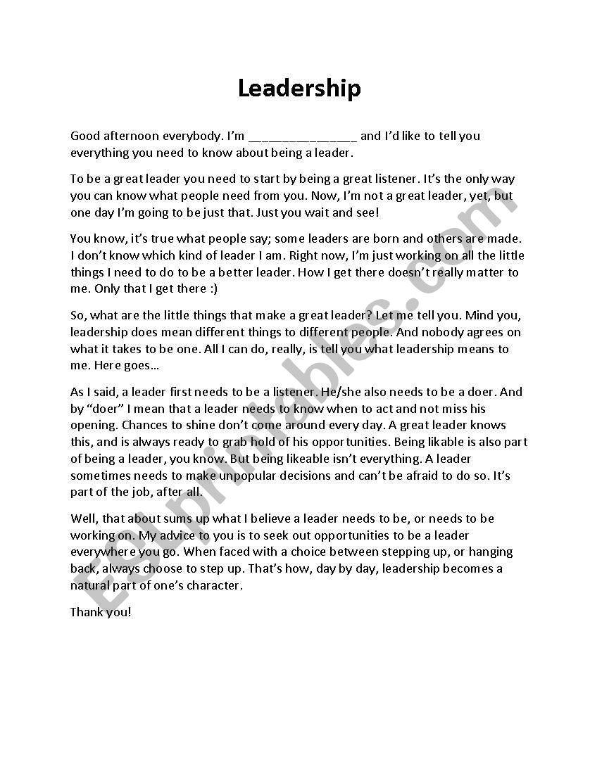english worksheets  leadership  a speech  1