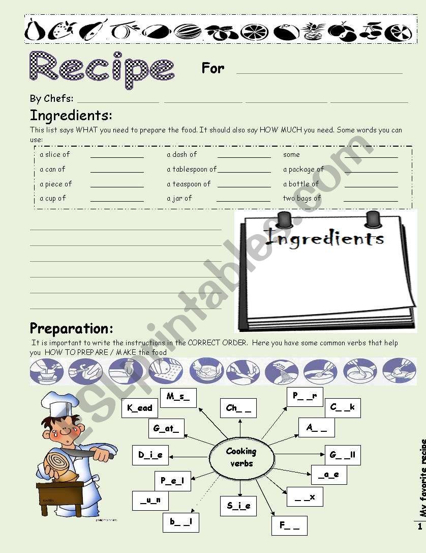My favorite recipe worksheet