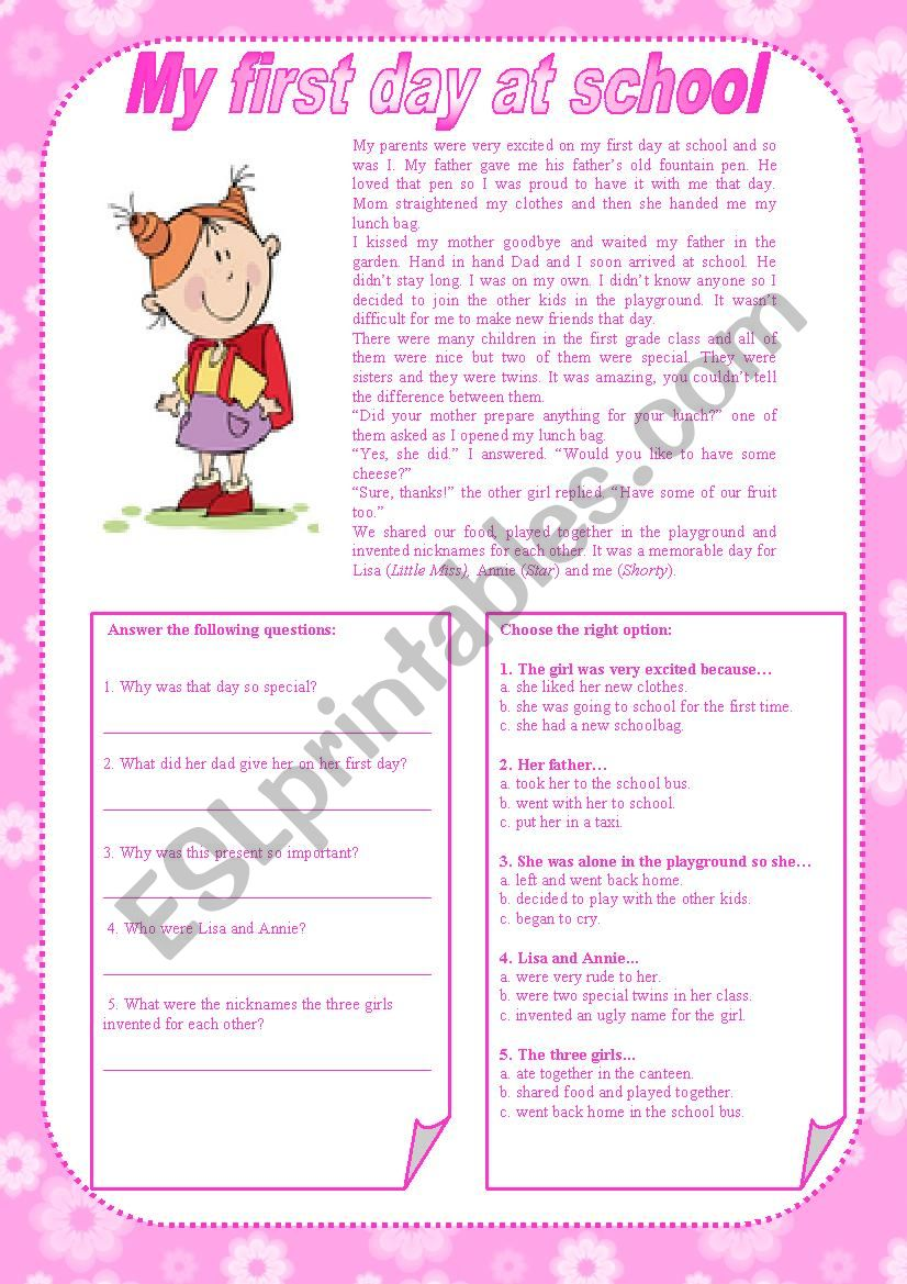My First Day At School With Key Esl Worksheet By Carla74