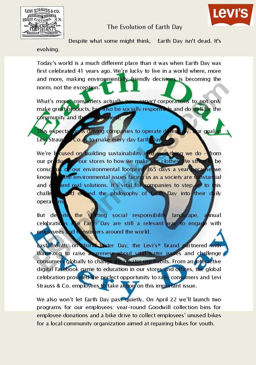 The Importance of Earth Day worksheet