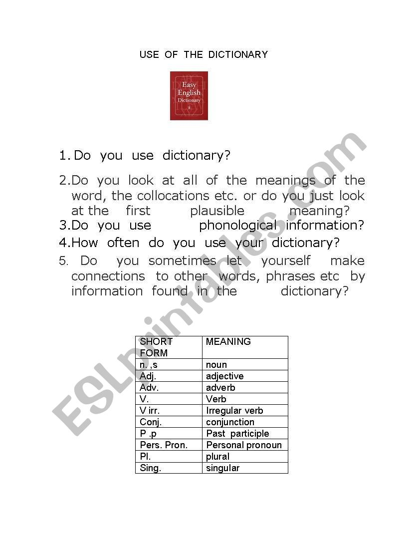 English worksheets: Use of the dictionary