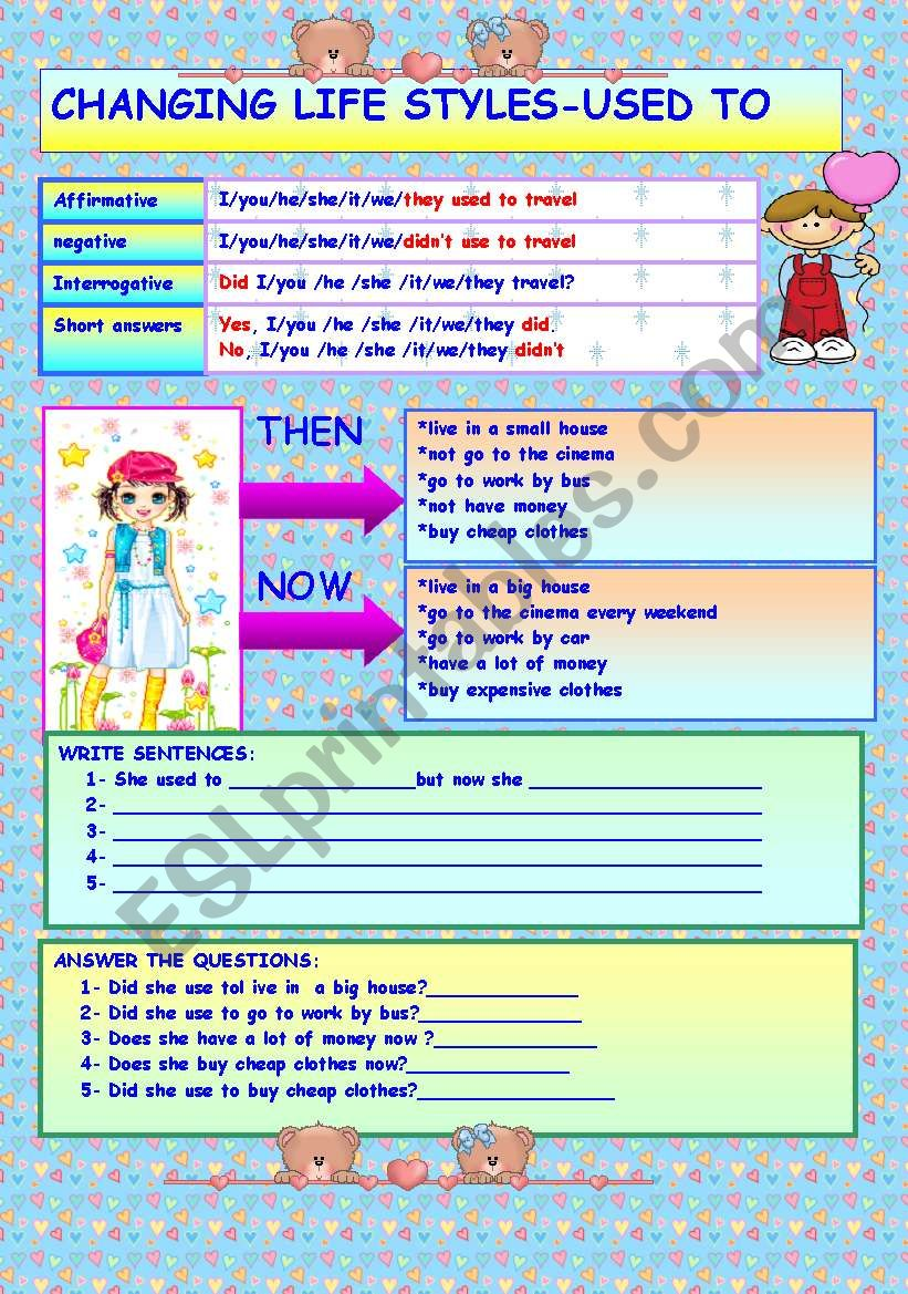 Changing life styles-USED TO worksheet