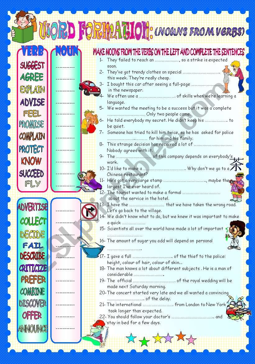 WORD FORMATION- NOUNS FROM VERBS