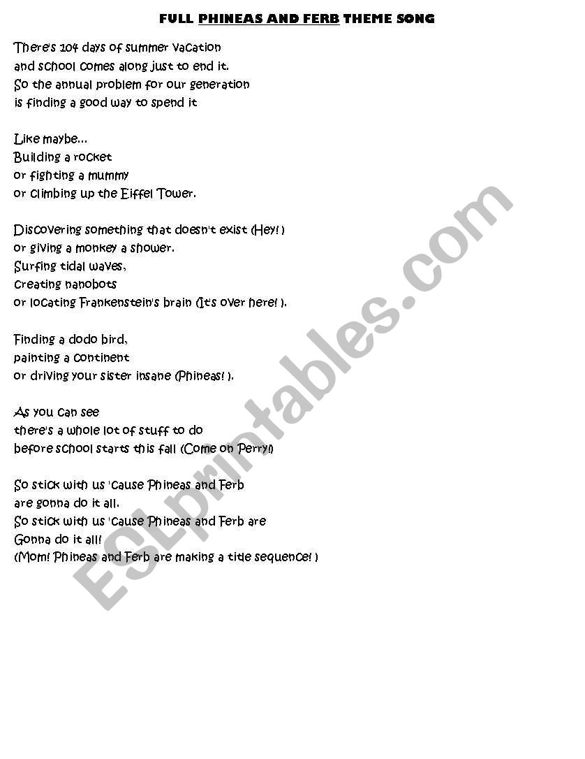 Phineas And Ferb Theme Song Re Uploaded Esl Worksheet By