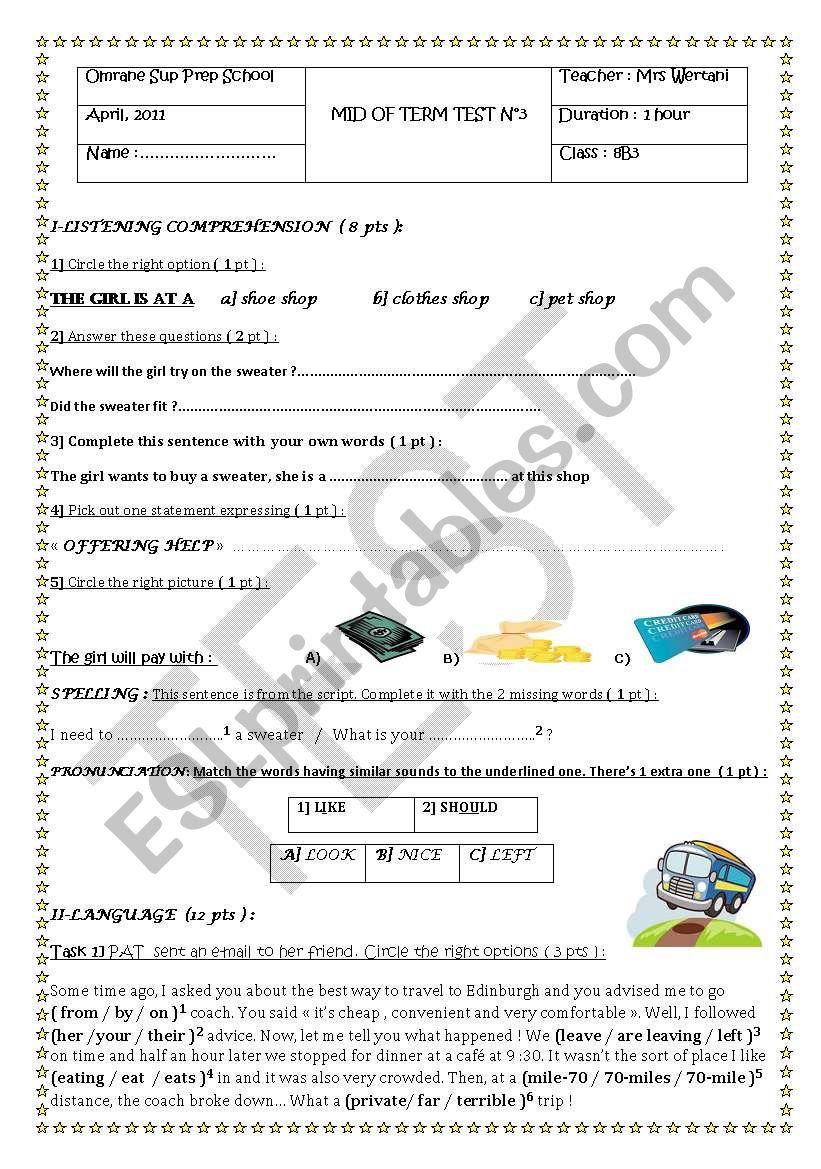 MID TERM TEST N°3 8TH FORM worksheet