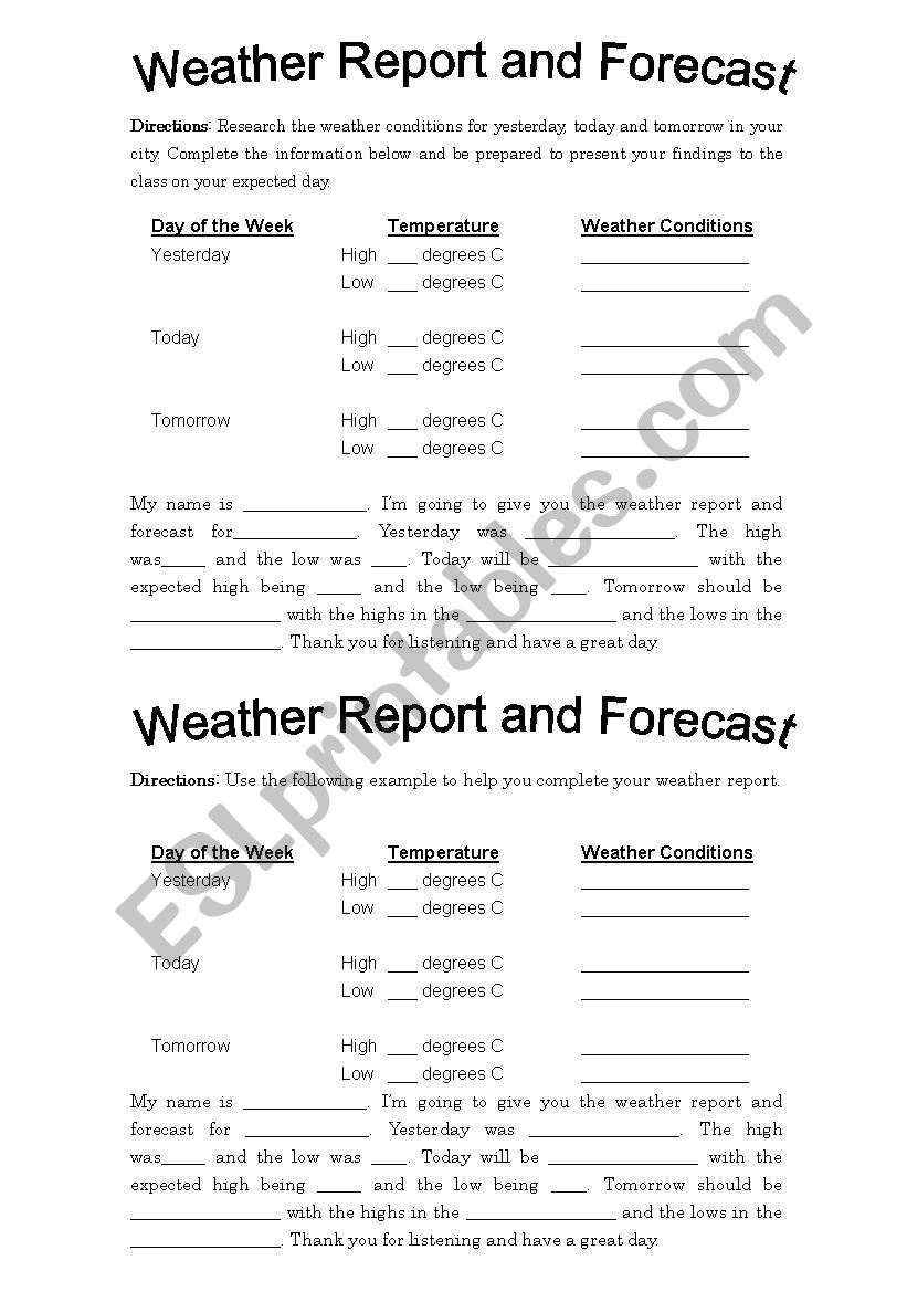 Weather Report and Forecast Project