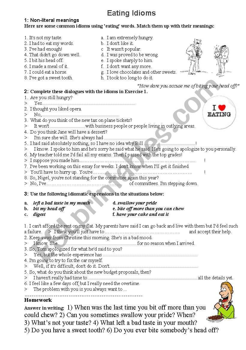 Eating Idioms worksheet