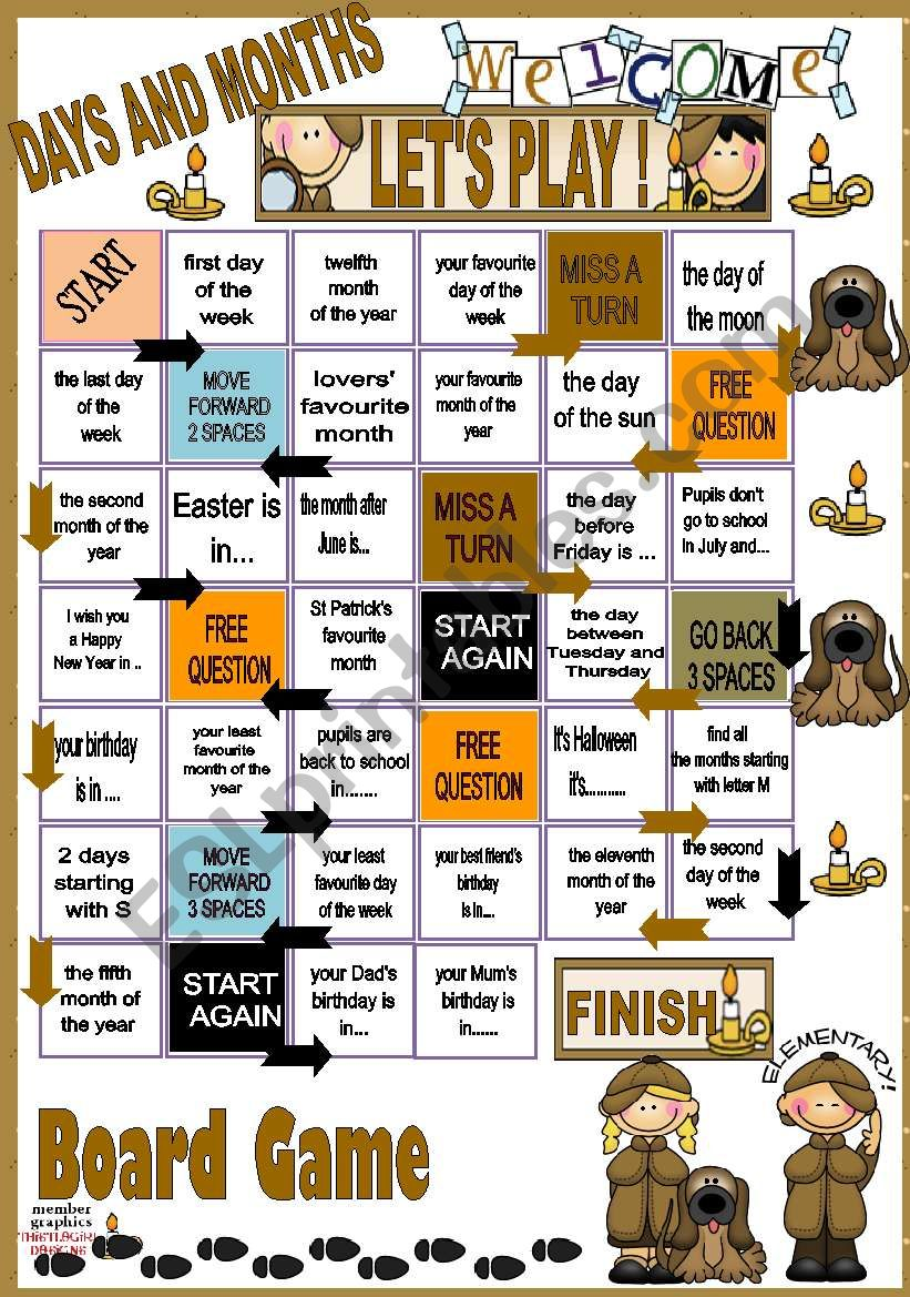 Days and Months - BOARD GAME  worksheet