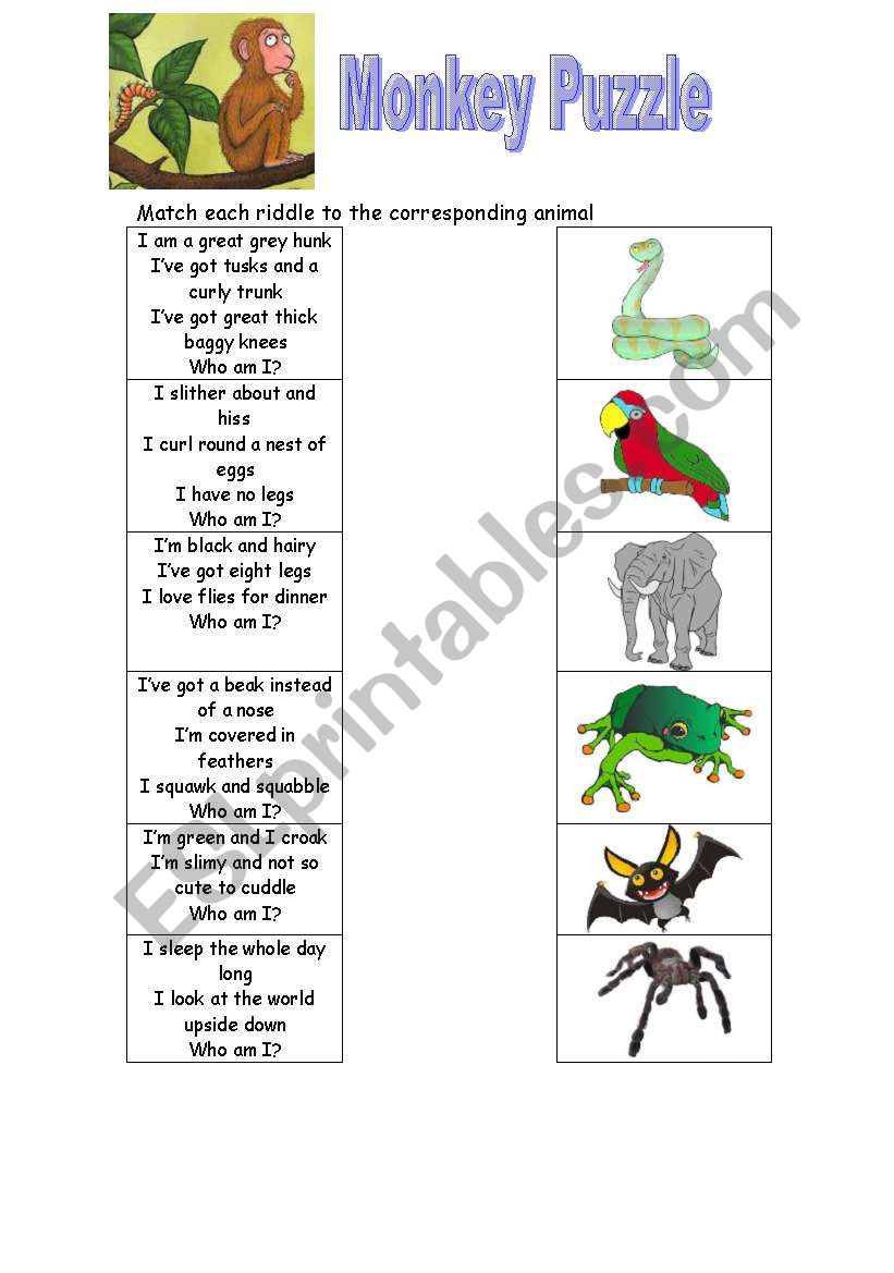 english worksheets  monkey puzzle