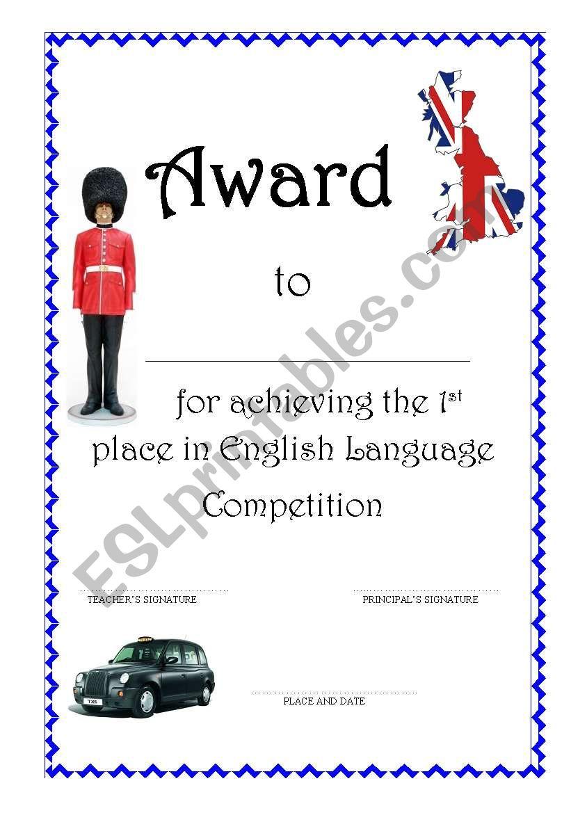 Award worksheet