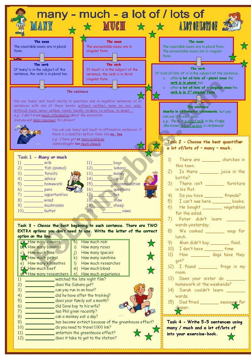 Many & much & a lot of/lots of* for intermediate level * 7 tasks * with key *** fully editable ***
