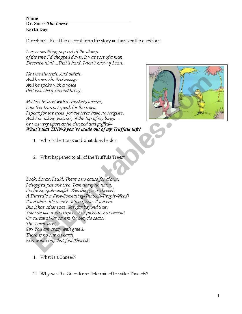 Dr Suess The Lorax Esl Worksheet By Sarahkt