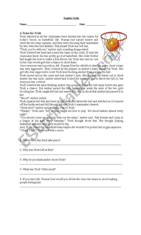 basketball reading comprehension esl worksheet by francisloy. Black Bedroom Furniture Sets. Home Design Ideas