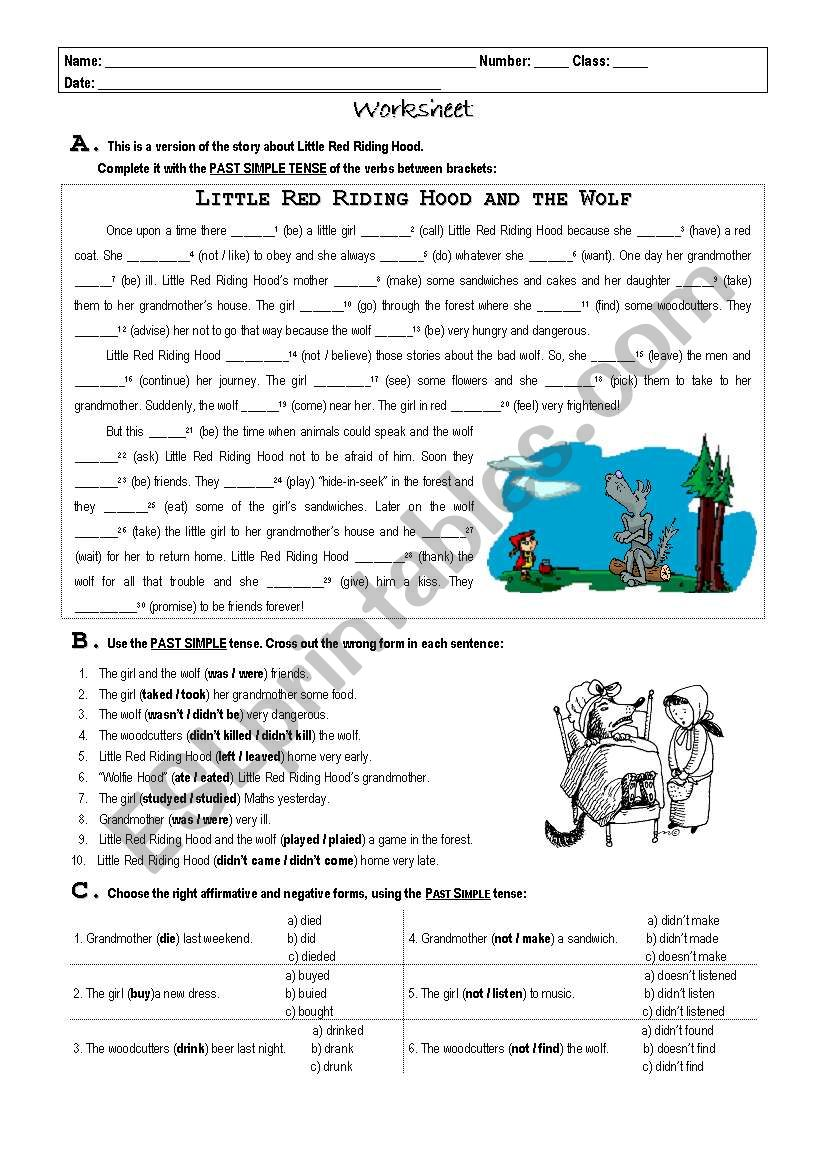 Little Red Riding Hood worksheet